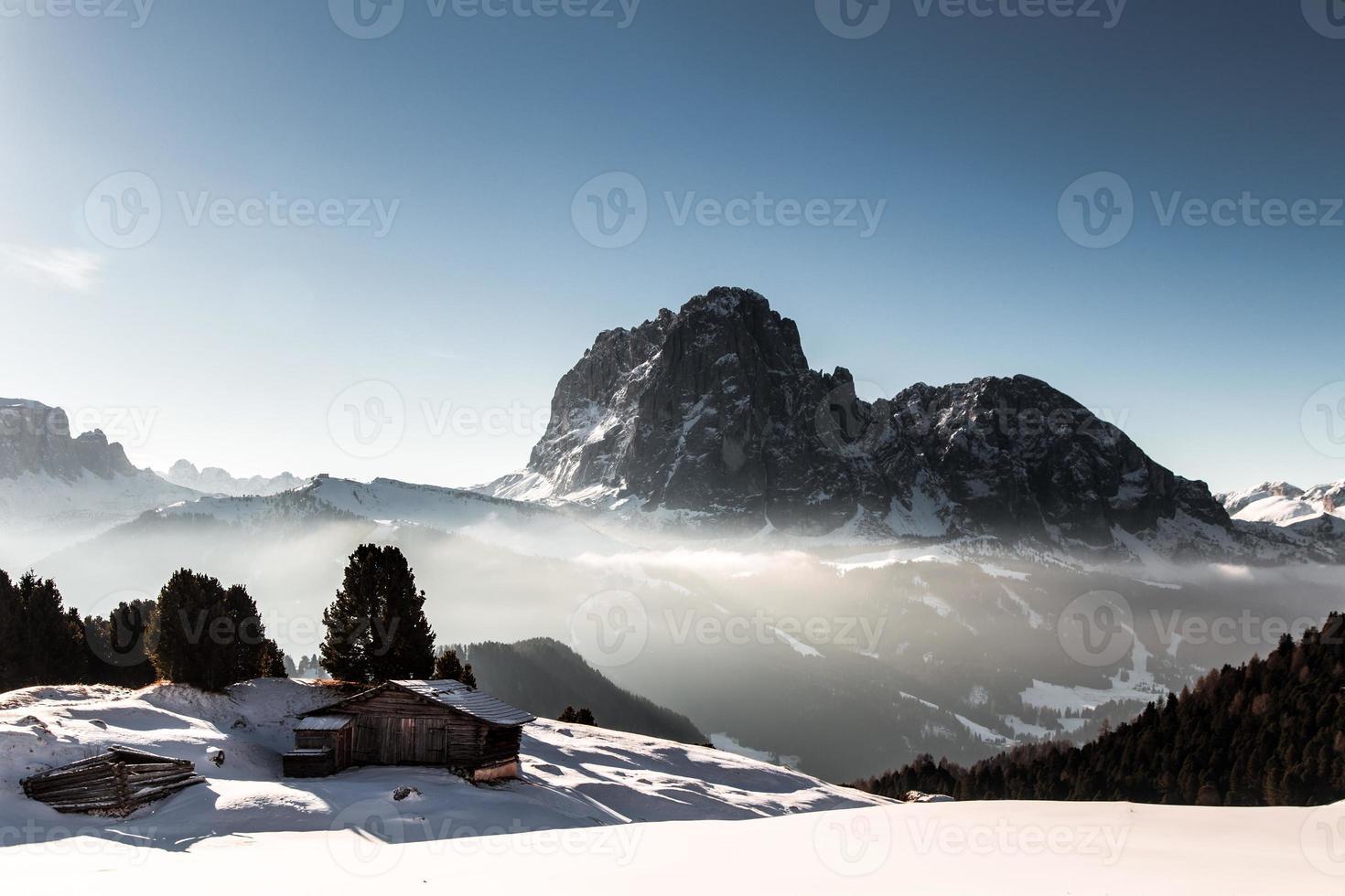 alpine hut in a winter day photo
