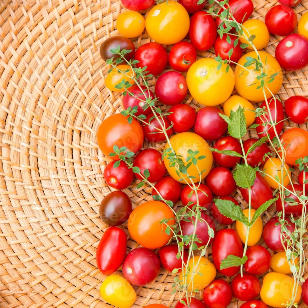 Assorted colorful tomatoes photo