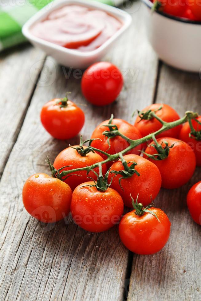 Fresh cherry tomatoes photo