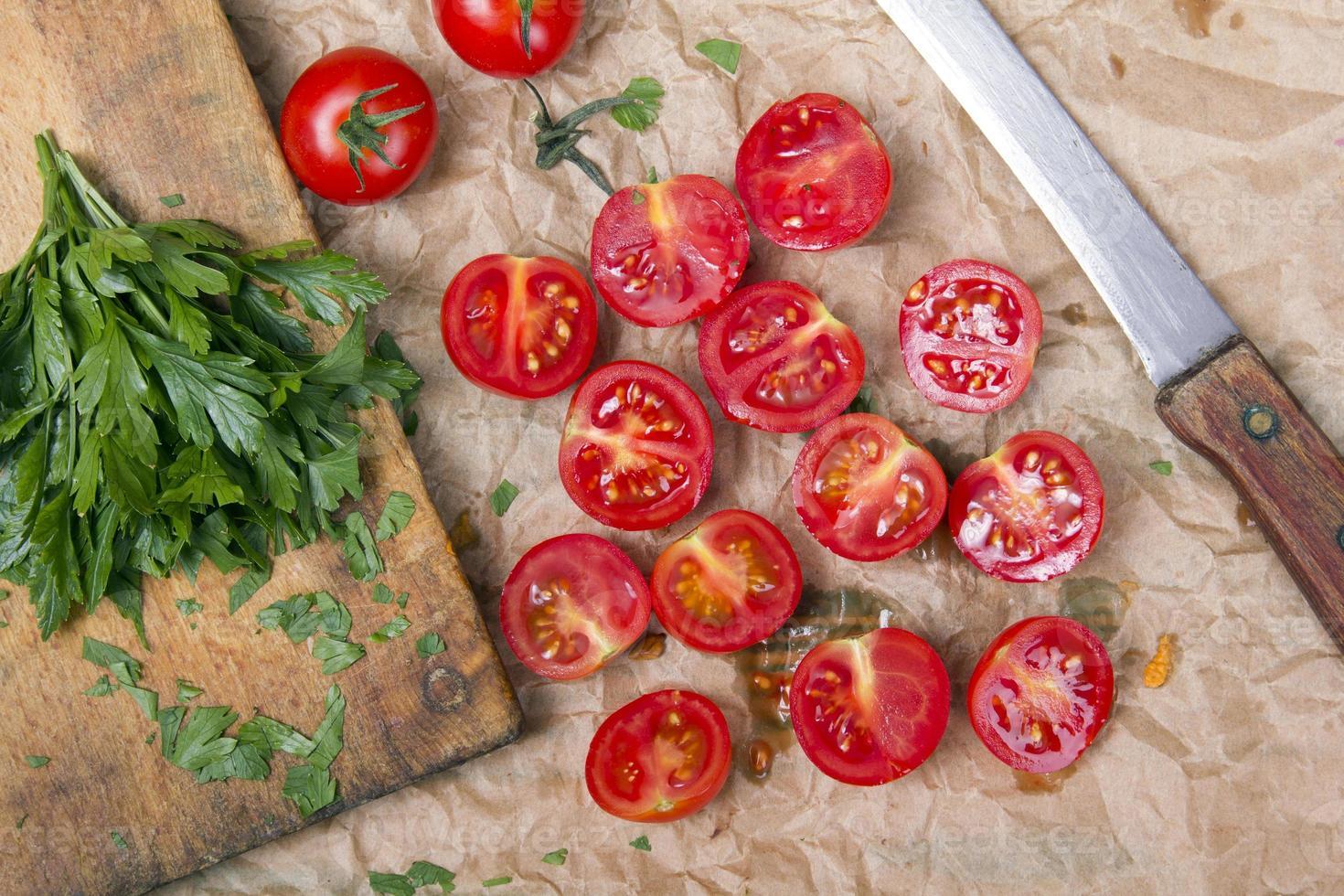 chopped cherry tomatoes photo