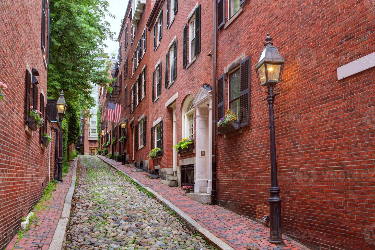 Bellota calle Beacon Hill adoquines Boston foto