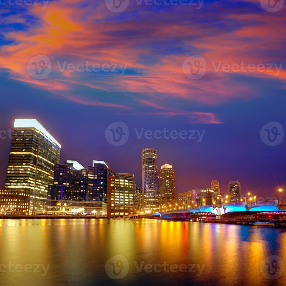 Boston sunset skyline at Fan Pier Massachusetts photo