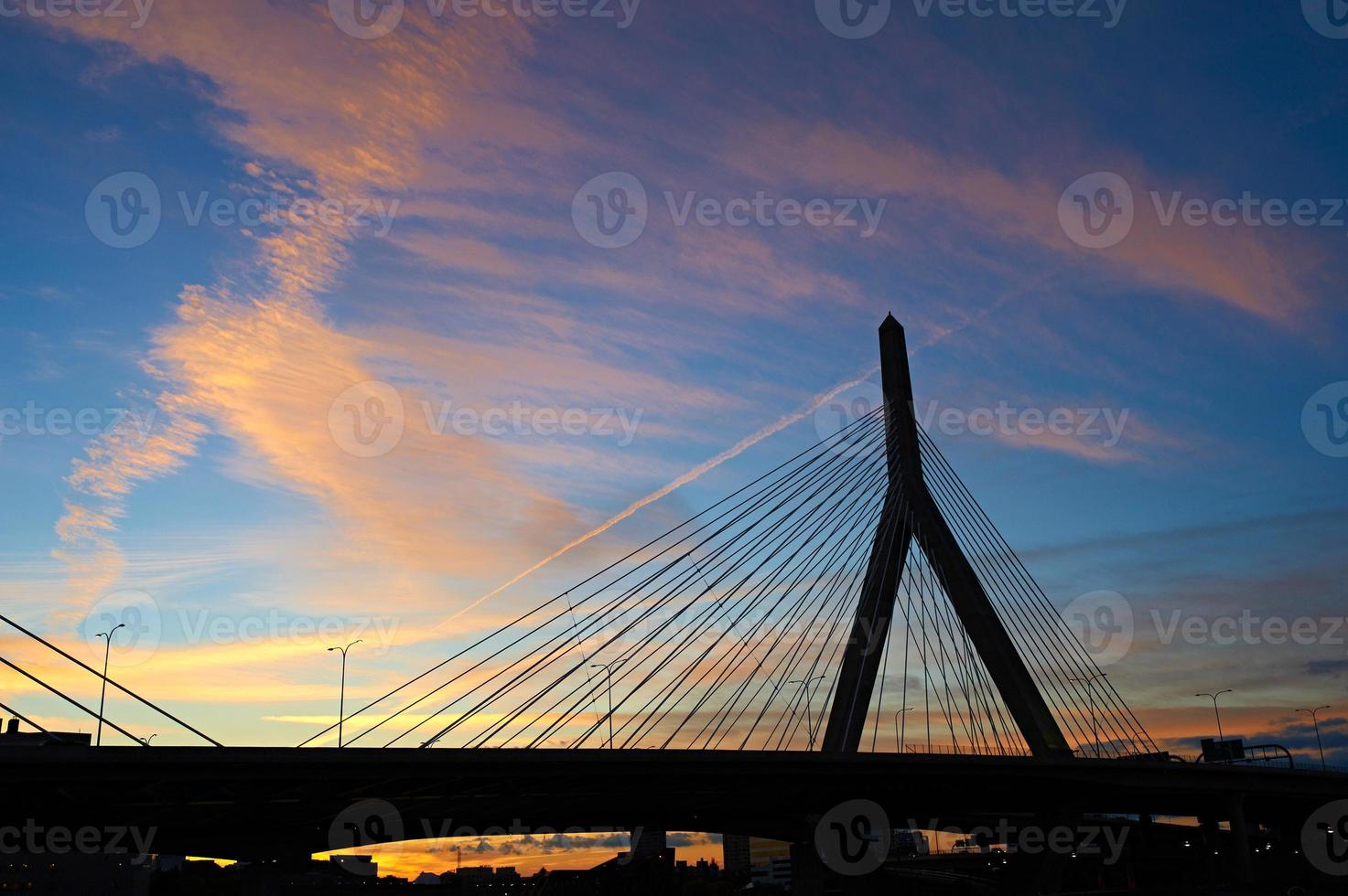 Zakim Bunker Hill Memorial Bridge at sunset photo