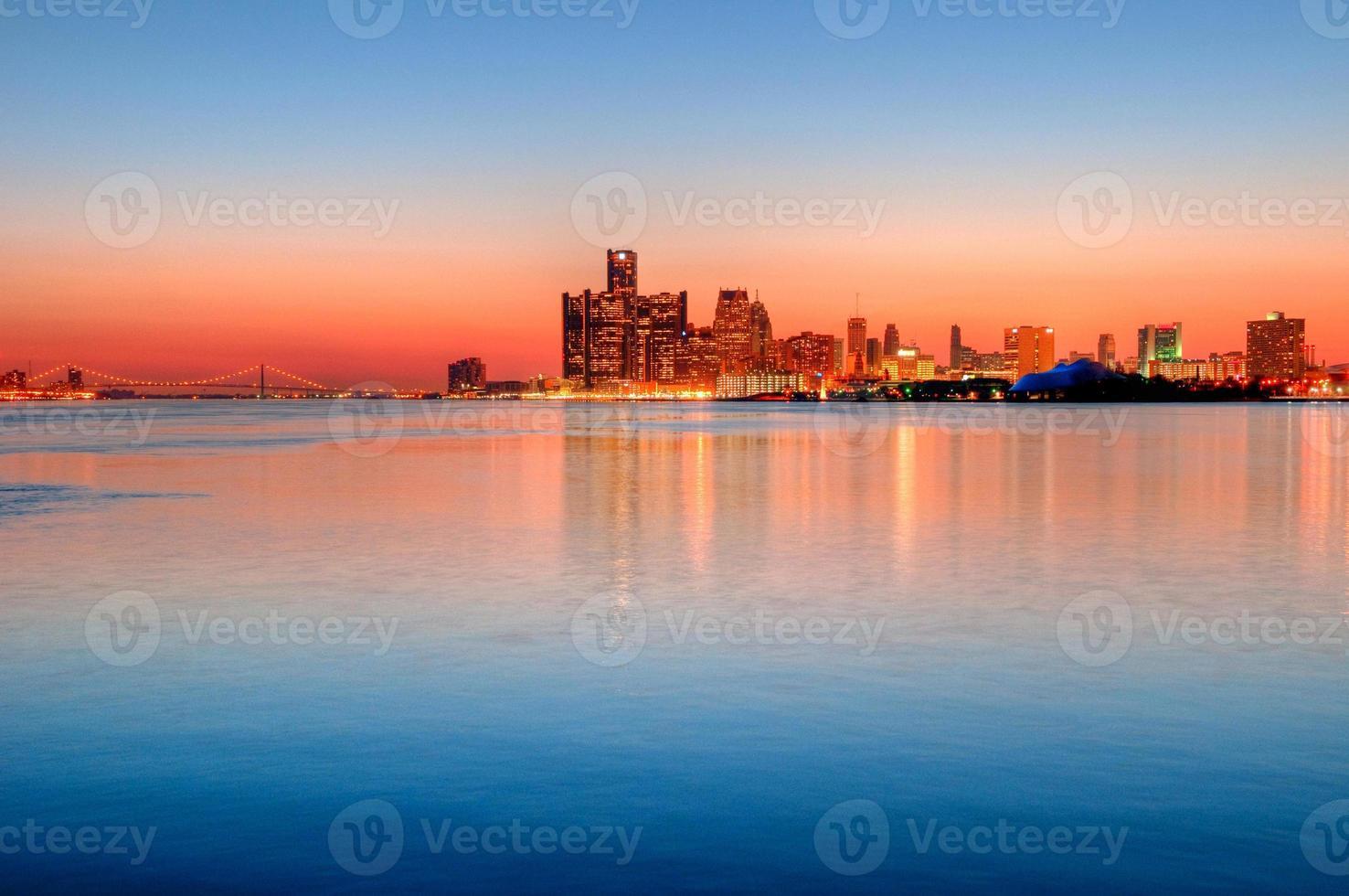 Detroit, Michigan Skyline at Night photo