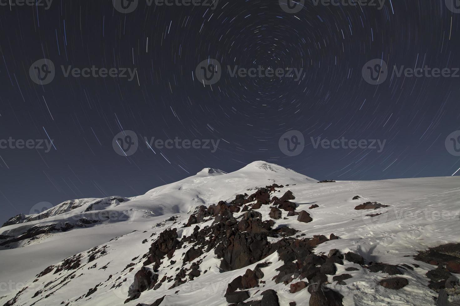Cycle of stars above Elbrus, Caucasus photo