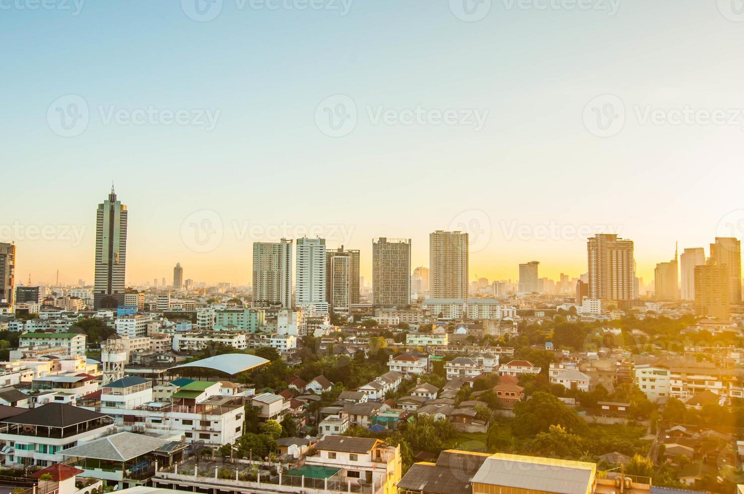 Sunrise morning in Bangkok city. photo