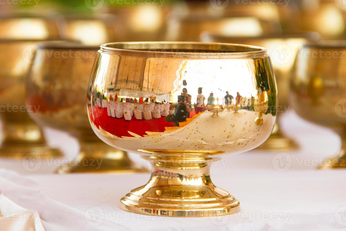 brass bowl in the temple photo