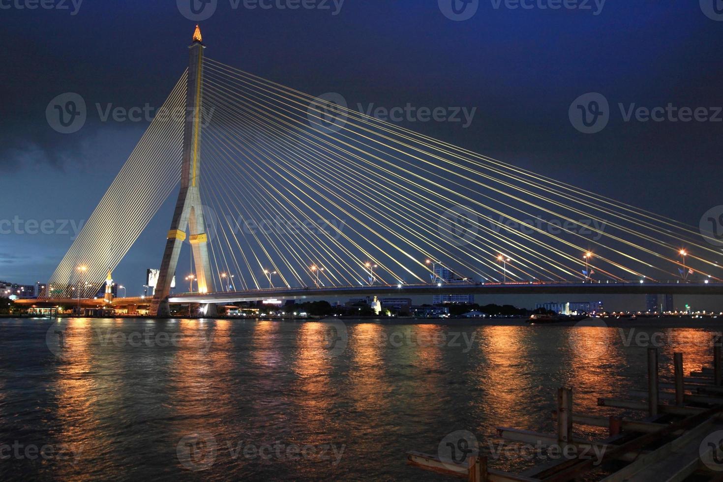 Rama8 bridge at dusk in Bangkok photo