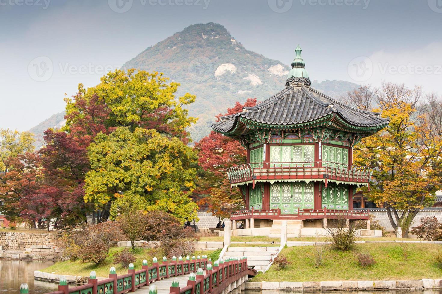 A view of Gyeongbokgung Palace by a mountain in Autumn photo