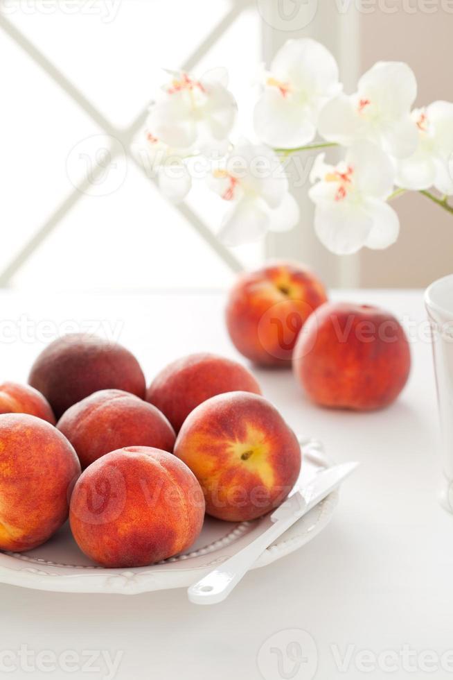 Fresh ripe peaches photo