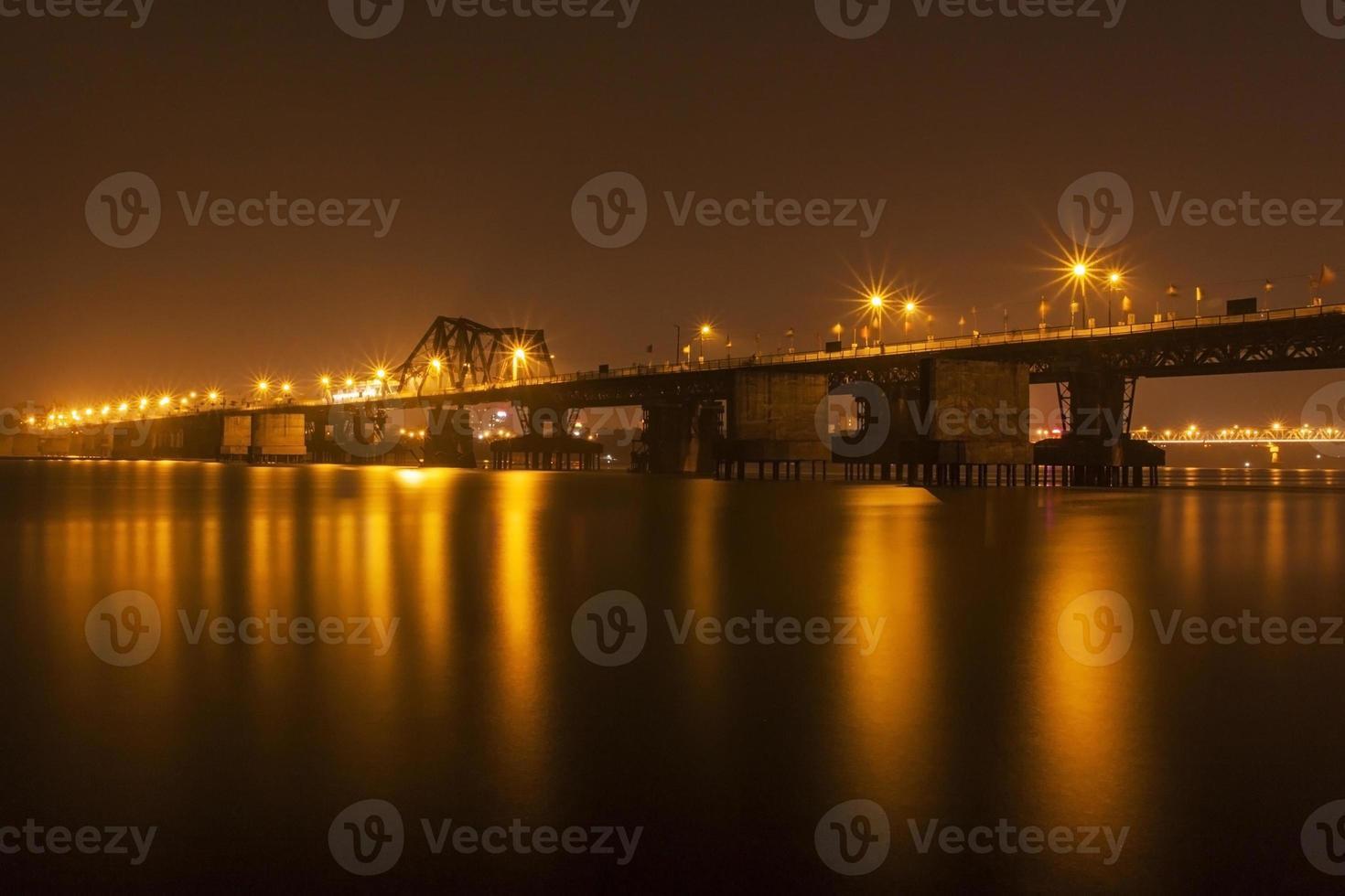 Long Bien bridge by night photo