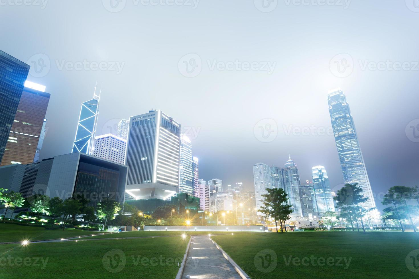 The modern buildings and city park photo