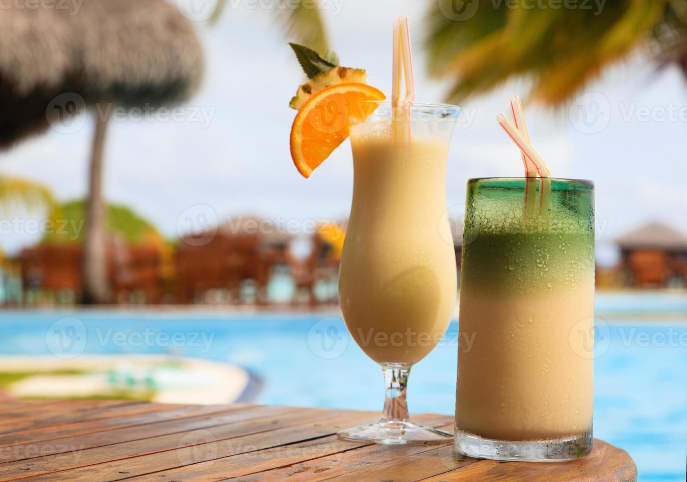 Two cocktails on tropical beach photo