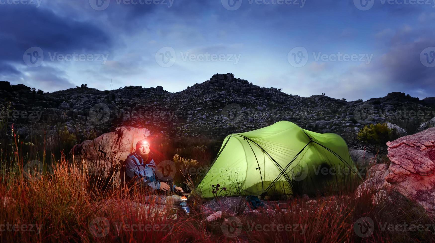 Adventure camping tent night photo