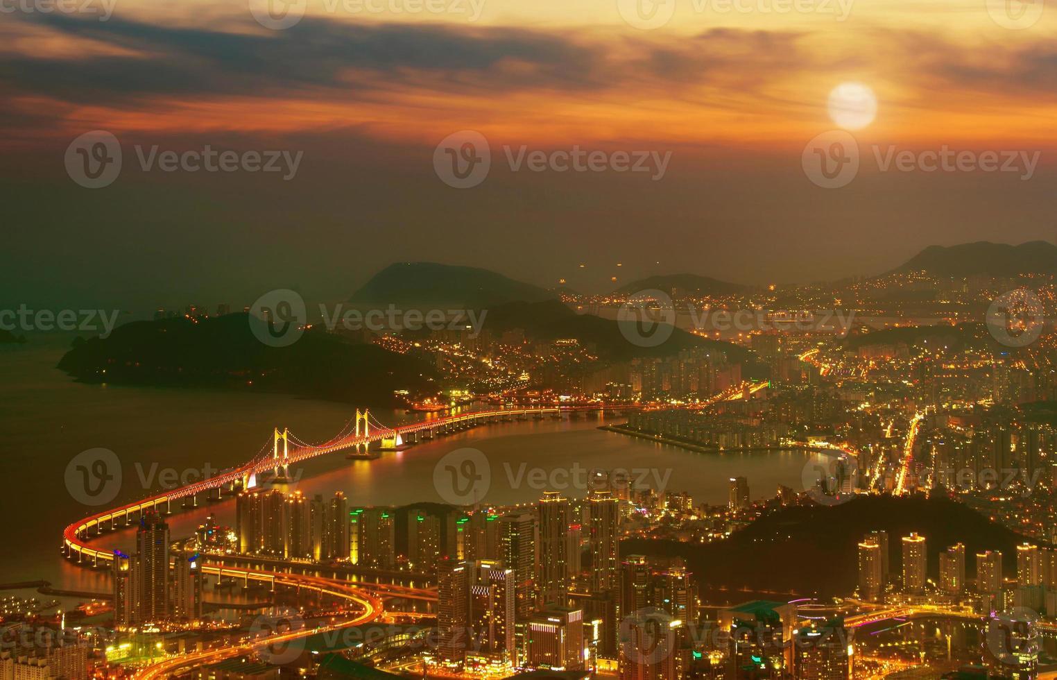 GwangAn Bridge and Haeundae in Busan, photo
