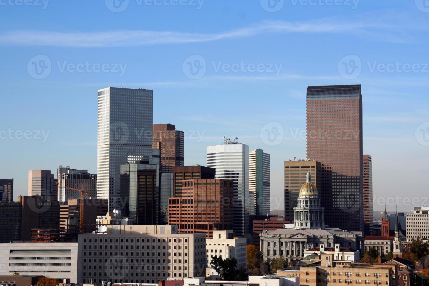An afar view of the downtime skyline of Denver Colorado photo