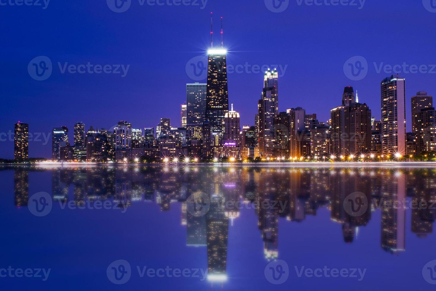 Chicago Skyline Reflection At Night photo