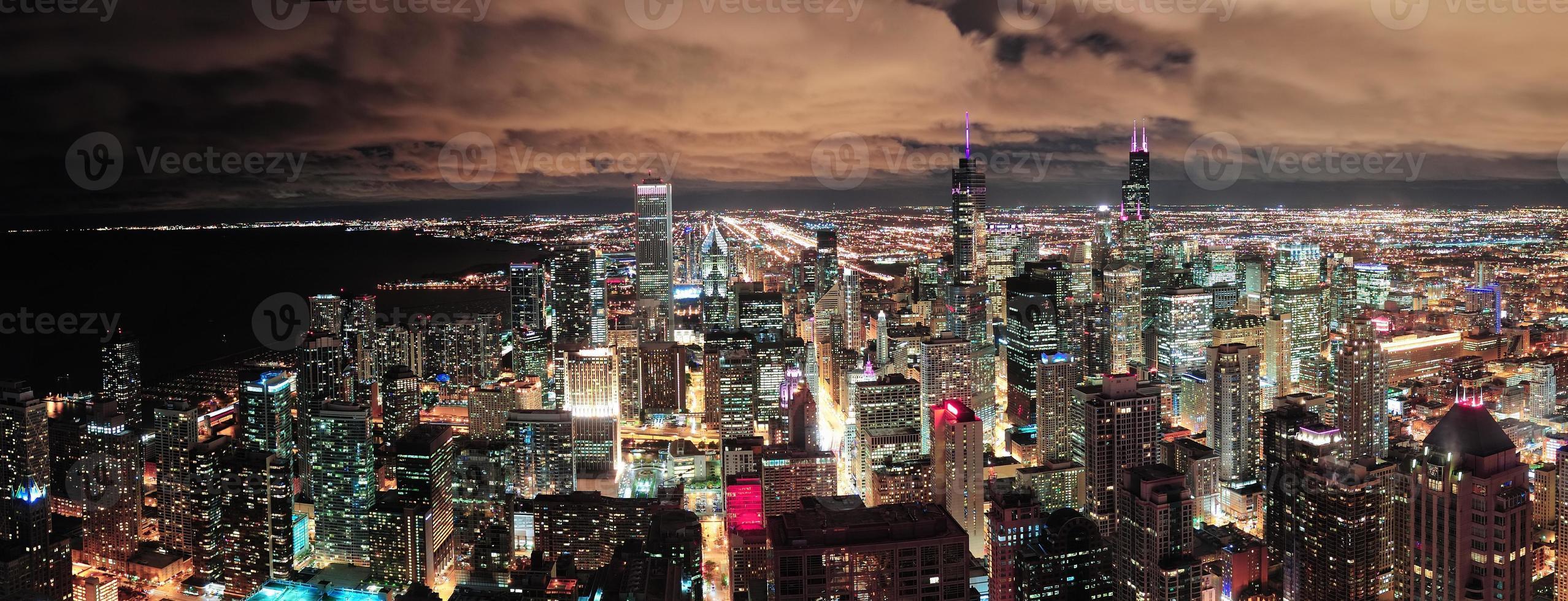 panorama del horizonte urbano de chicago foto