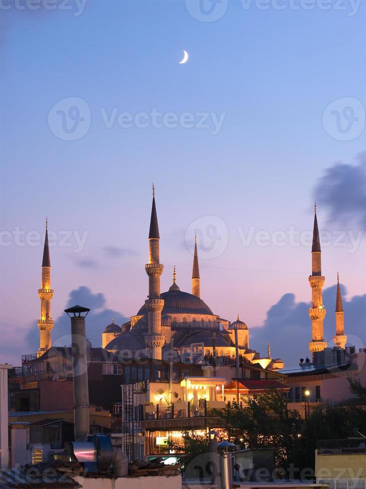 Aya Sofya Mosque And Arabian Moon photo