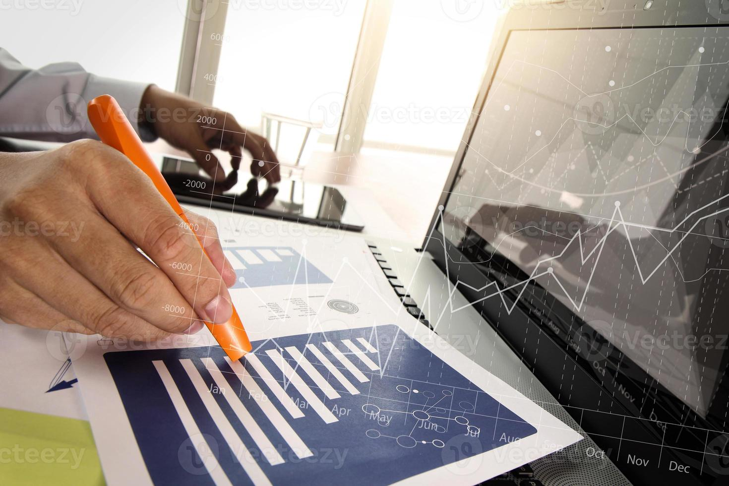 business documents on office table with smart phone photo