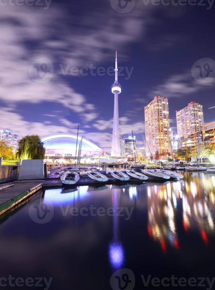 Toronto skyline at night in Ontario, Canada photo