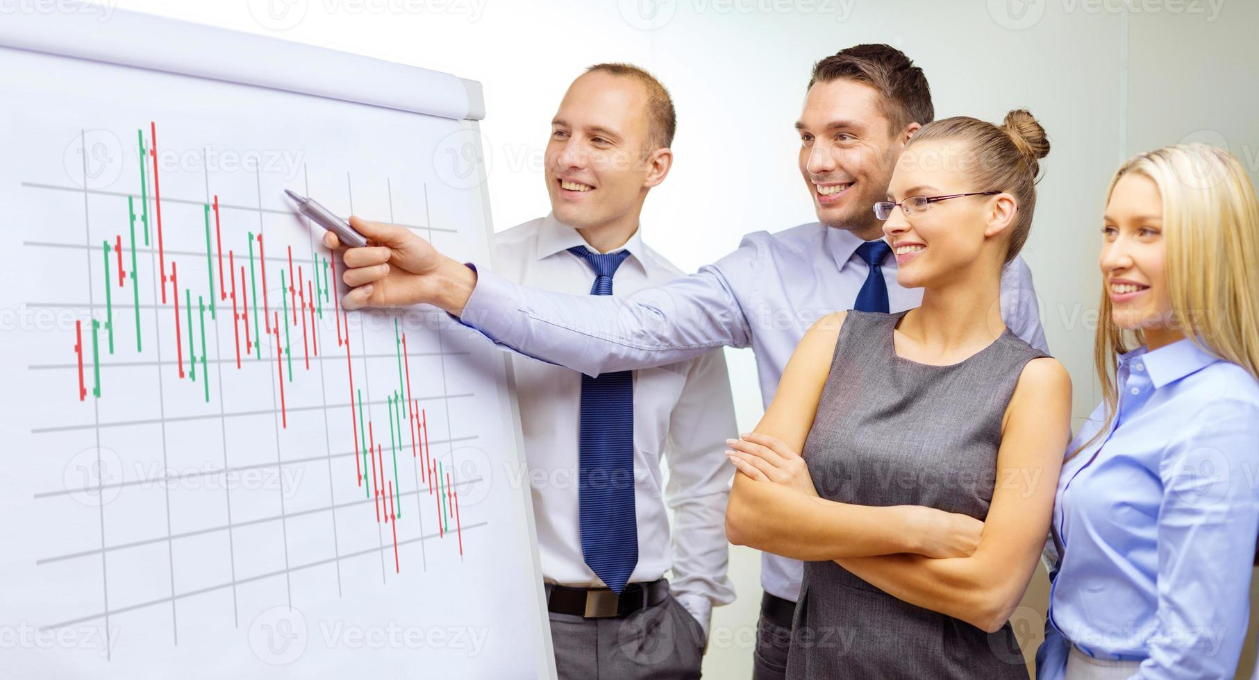 business team with flip board having discussion photo
