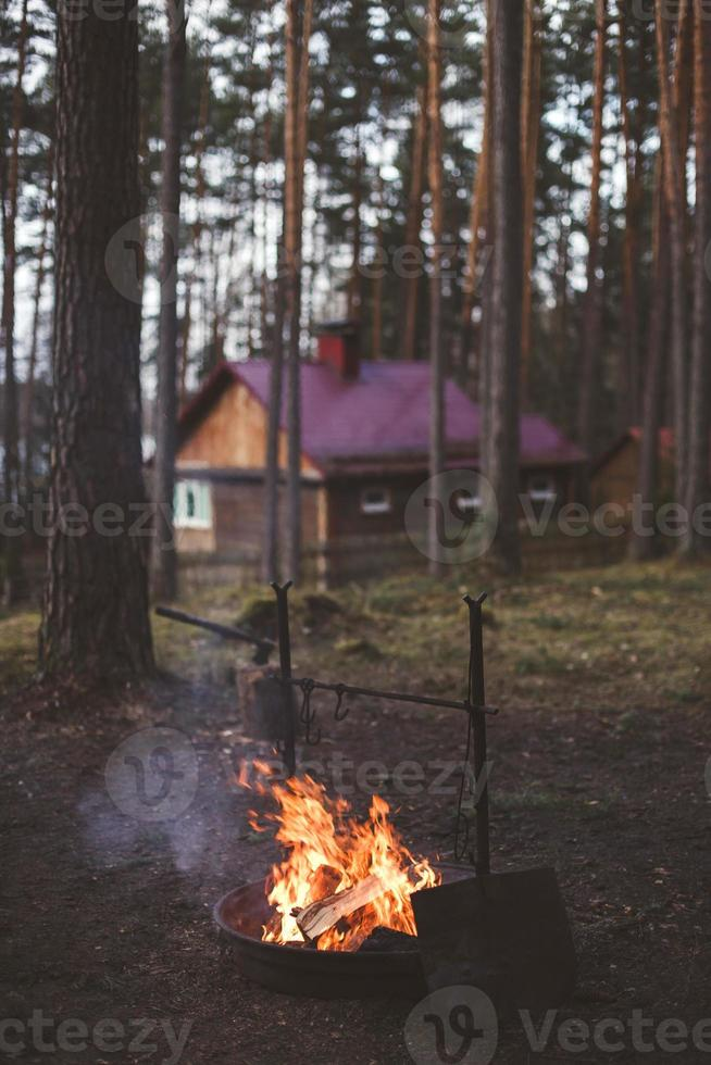 Rest at a fire in the forest photo