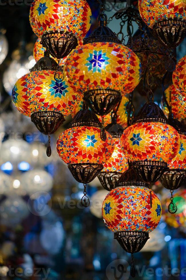 Traditional turkish mosaic lanterns photo