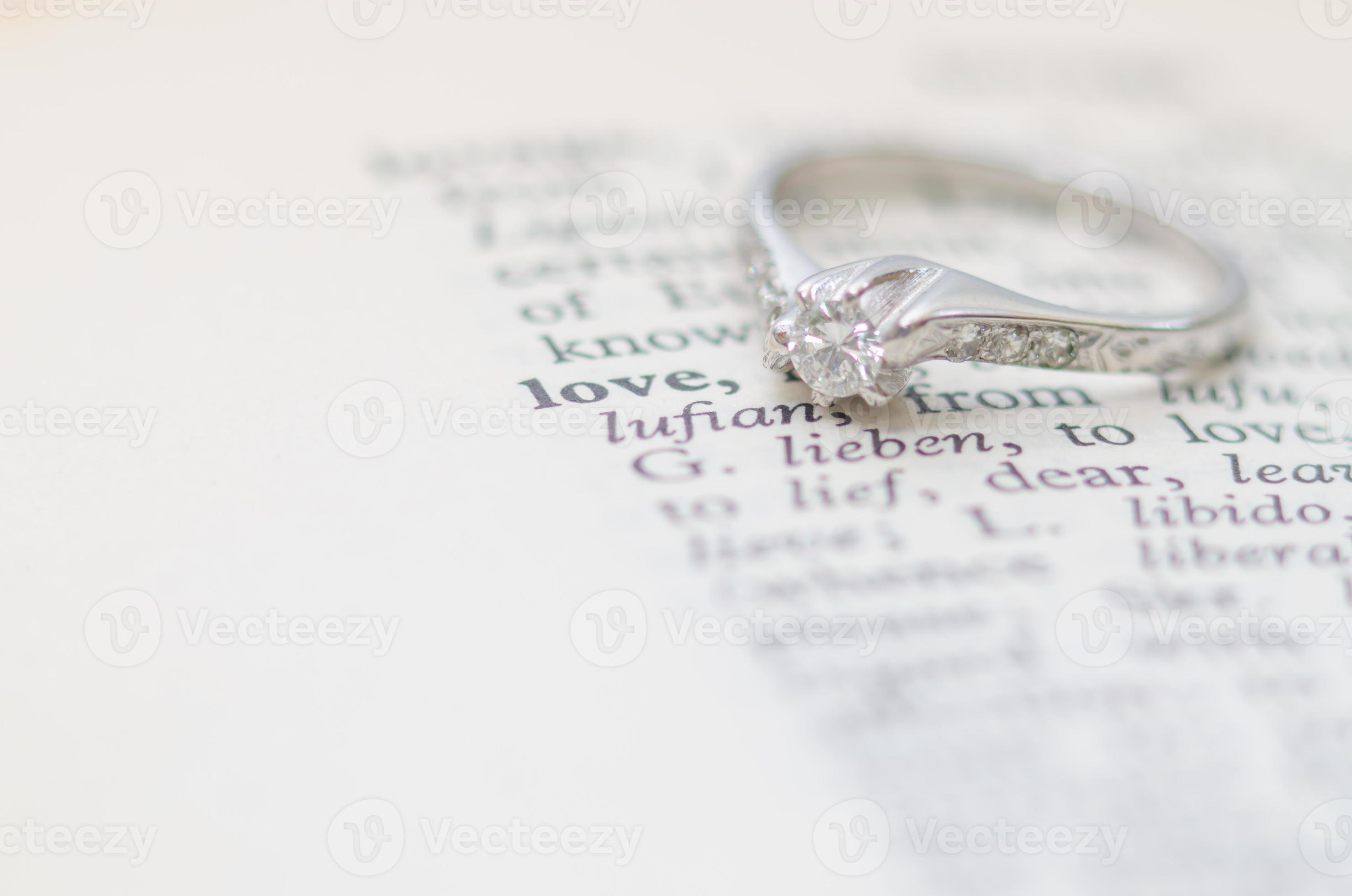 Diamond Ring Together With Definition Of Love Stock Photo