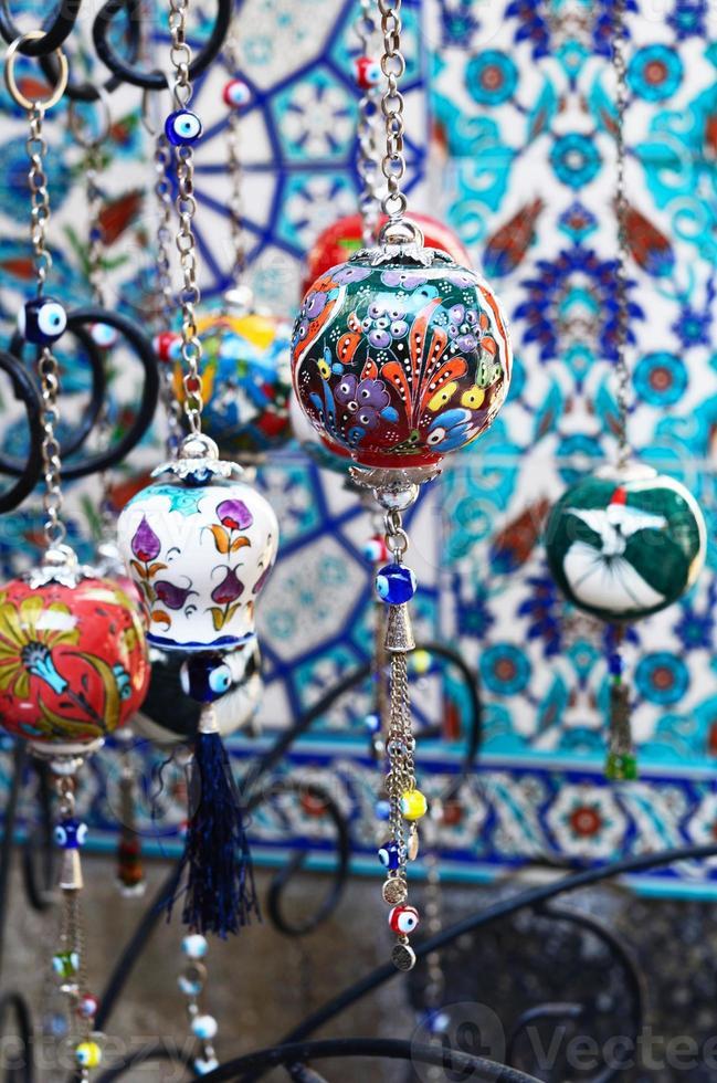 Colorful turkish crockery souvenirs photo