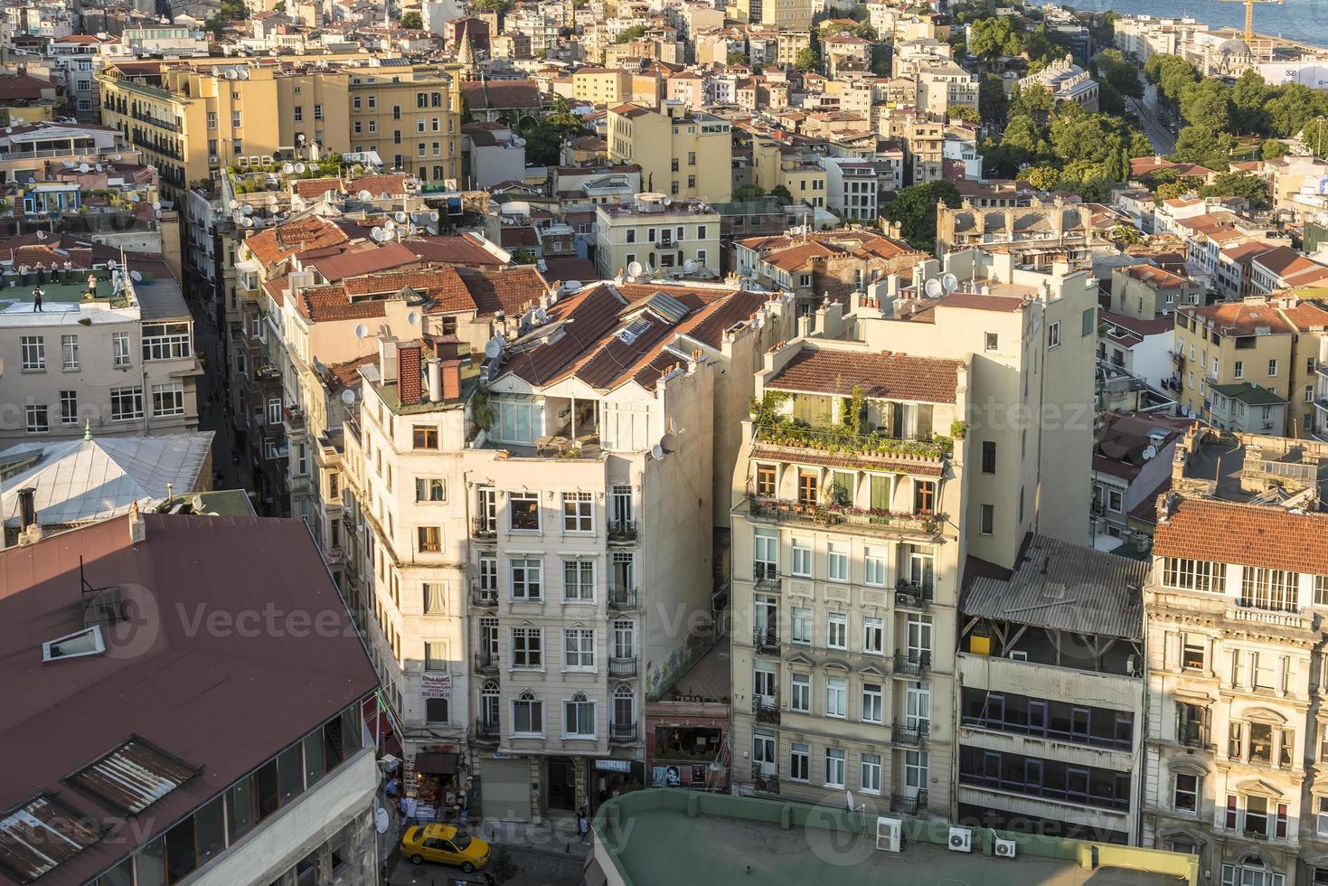 Vista aérea de Estambul al atardecer foto