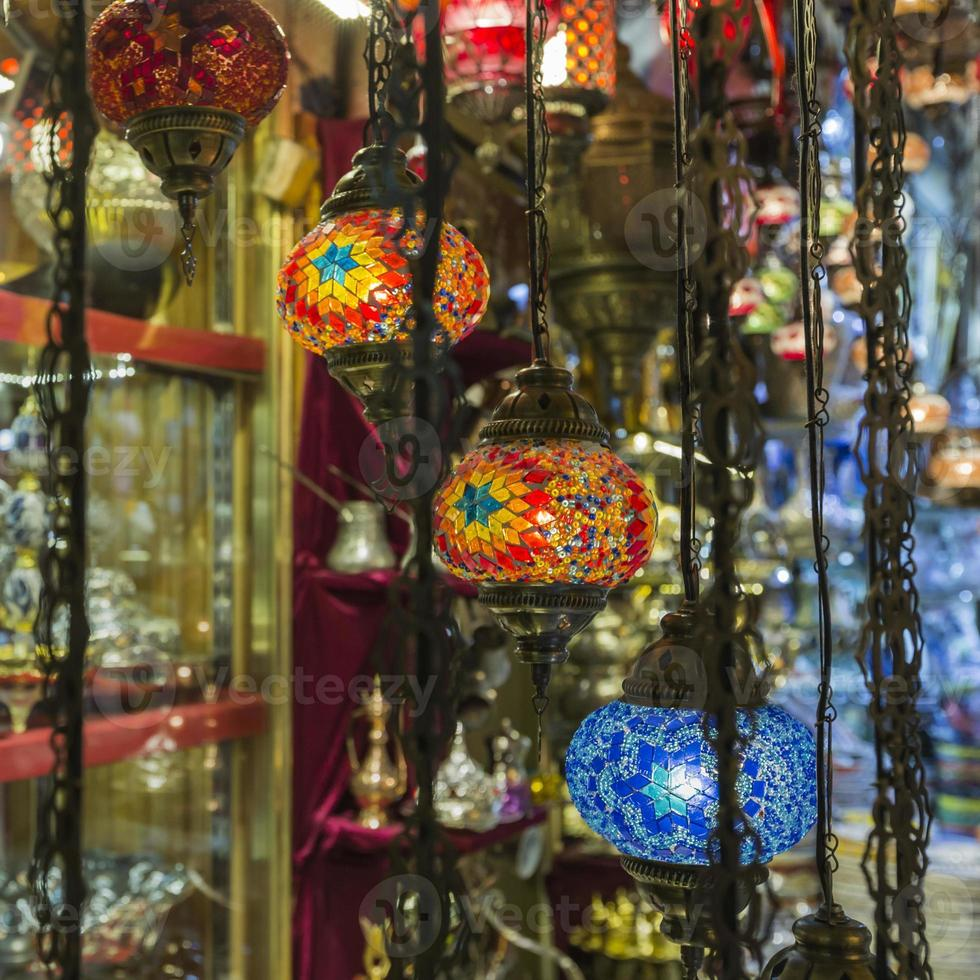 Various old lamps on the Grand Bazaar in Istanbul photo