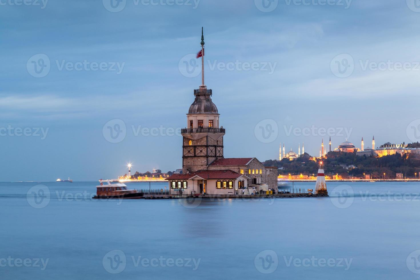 Leandro Tower, Istanbul, at sunset photo