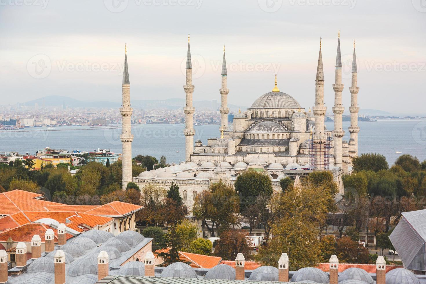 Aerial view of Blue Mosque in Istanbul photo