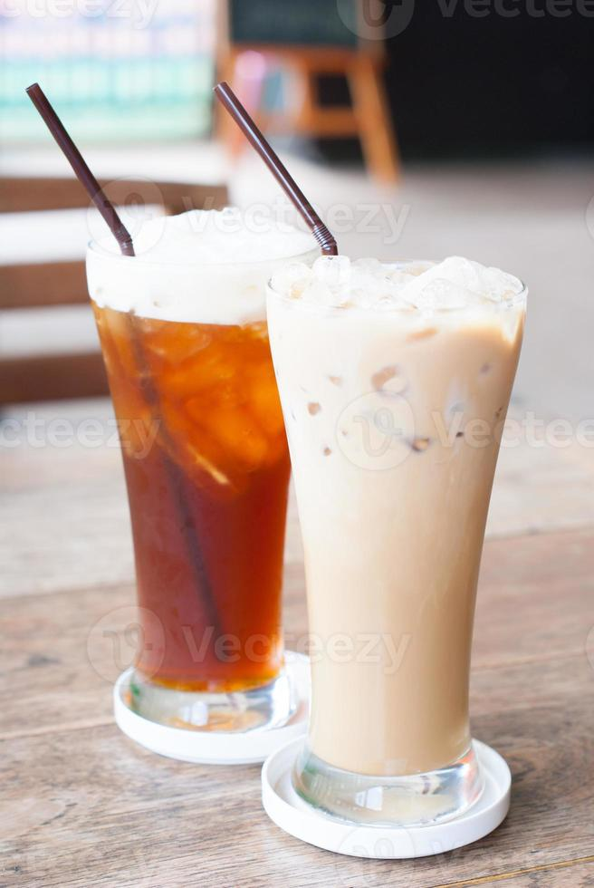 coffee and tea on a wooden table, beverage photo