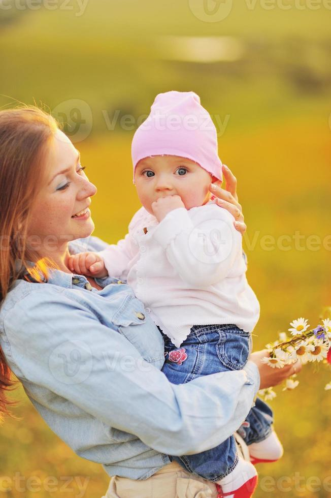 Happy family, mom and lovely daughter. photo