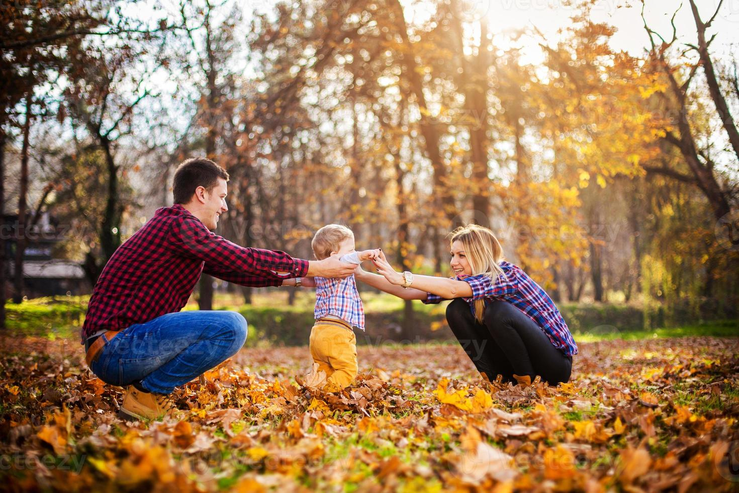 family having fun in a park photo