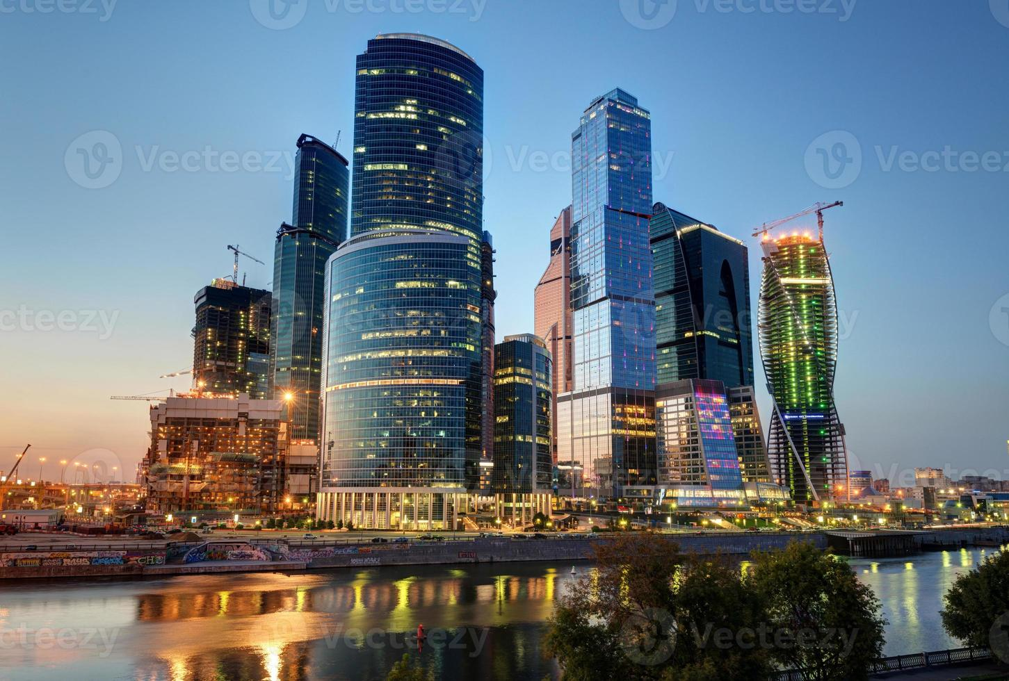 Moscow-city (Moscow International Business Center) at night photo