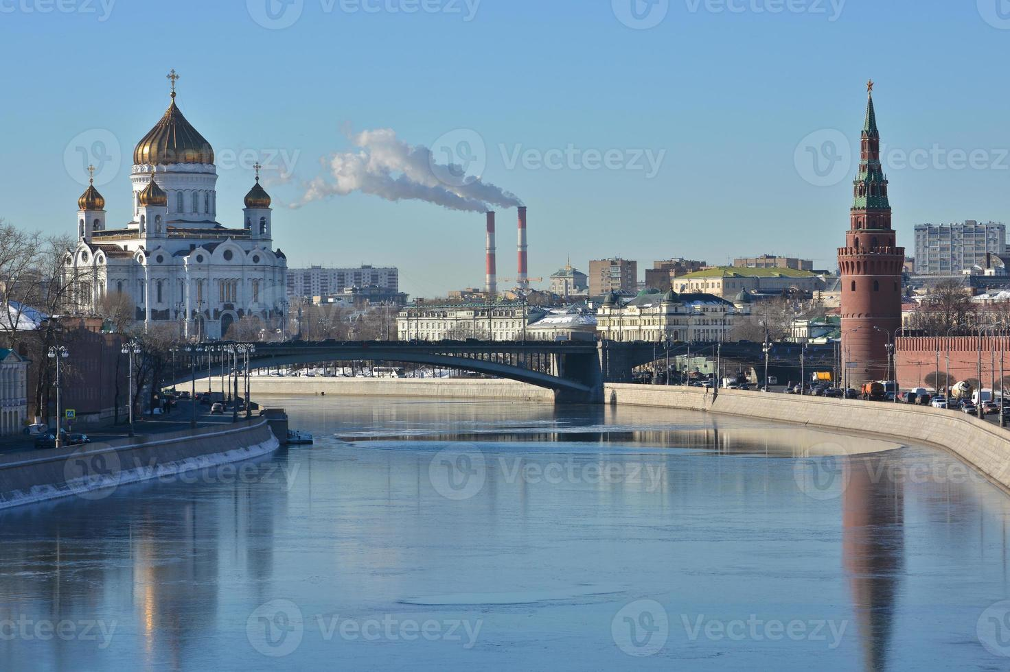 Moscow river,  Kremlin and Cathedral of Christ the Savior. photo