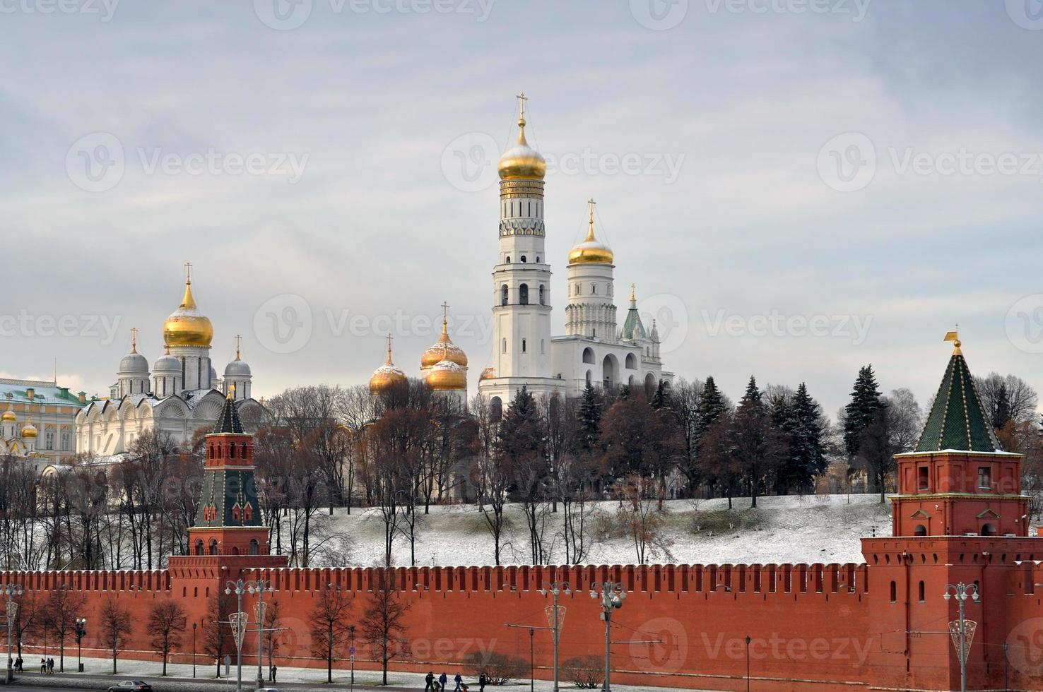 The Moscow Kremlin after snowfall during a cold day photo
