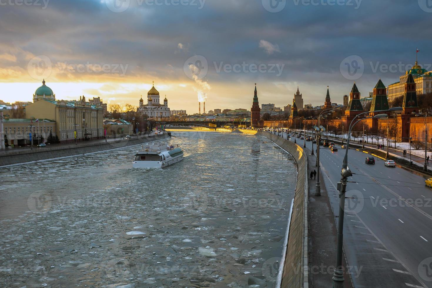 Sunset over Moscow river and Kremlin embankment at winter photo