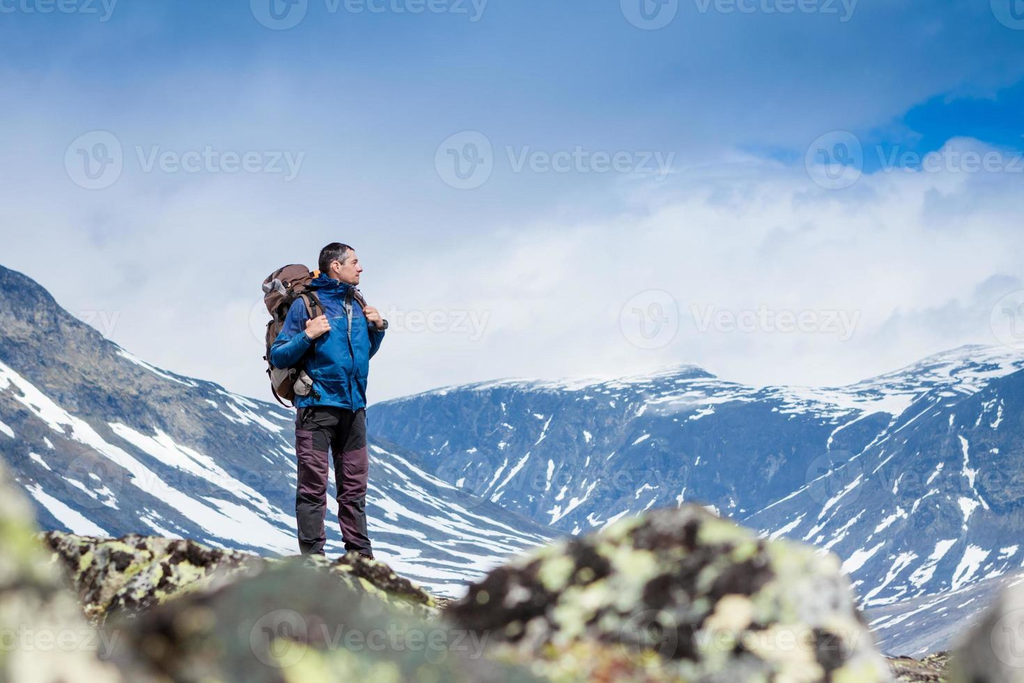 hiker in the mountains photo
