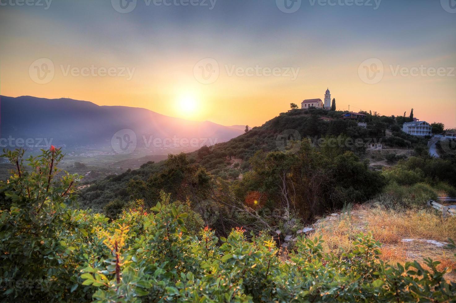 Hilltop church sunset photo