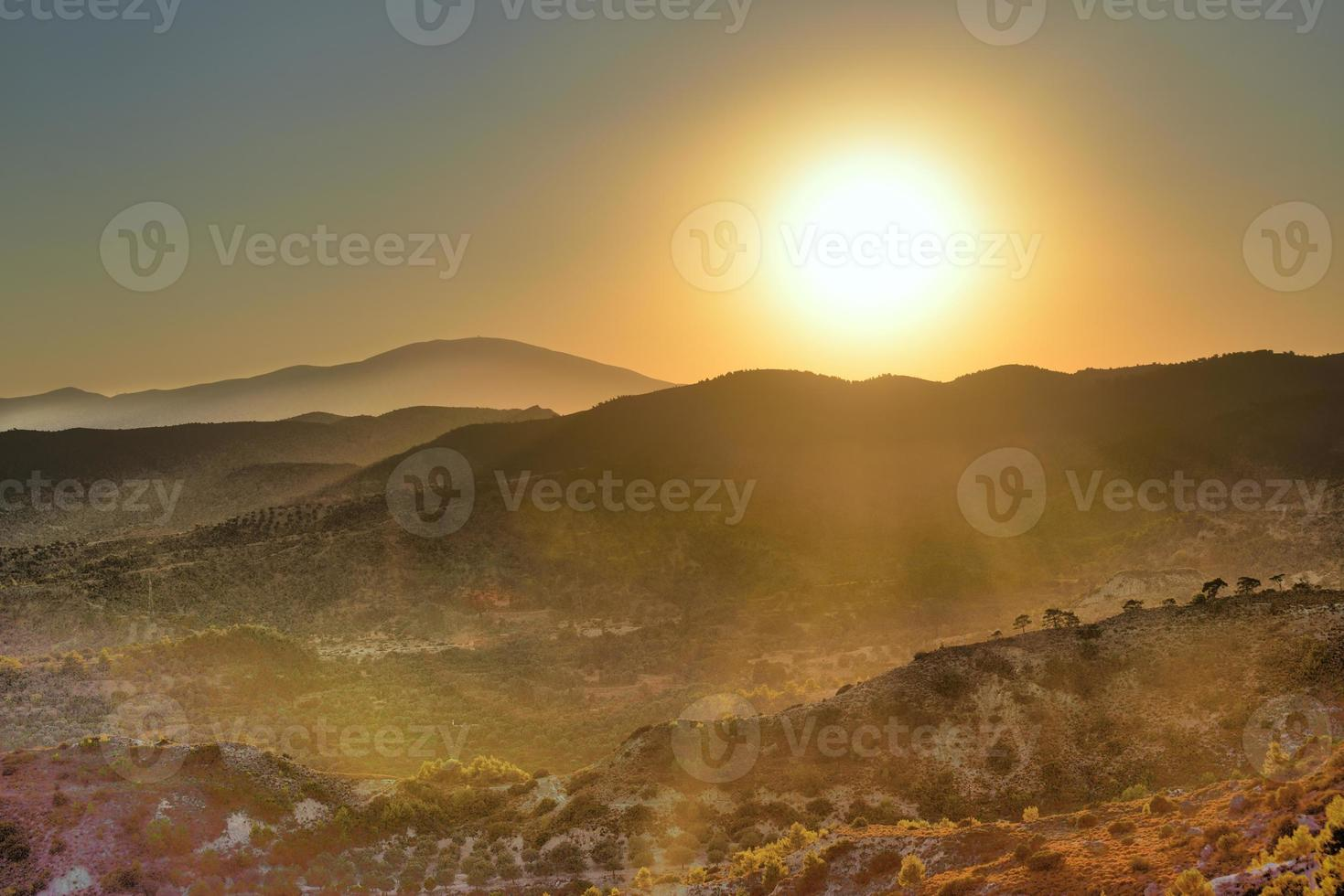 Sunset in mountains. photo