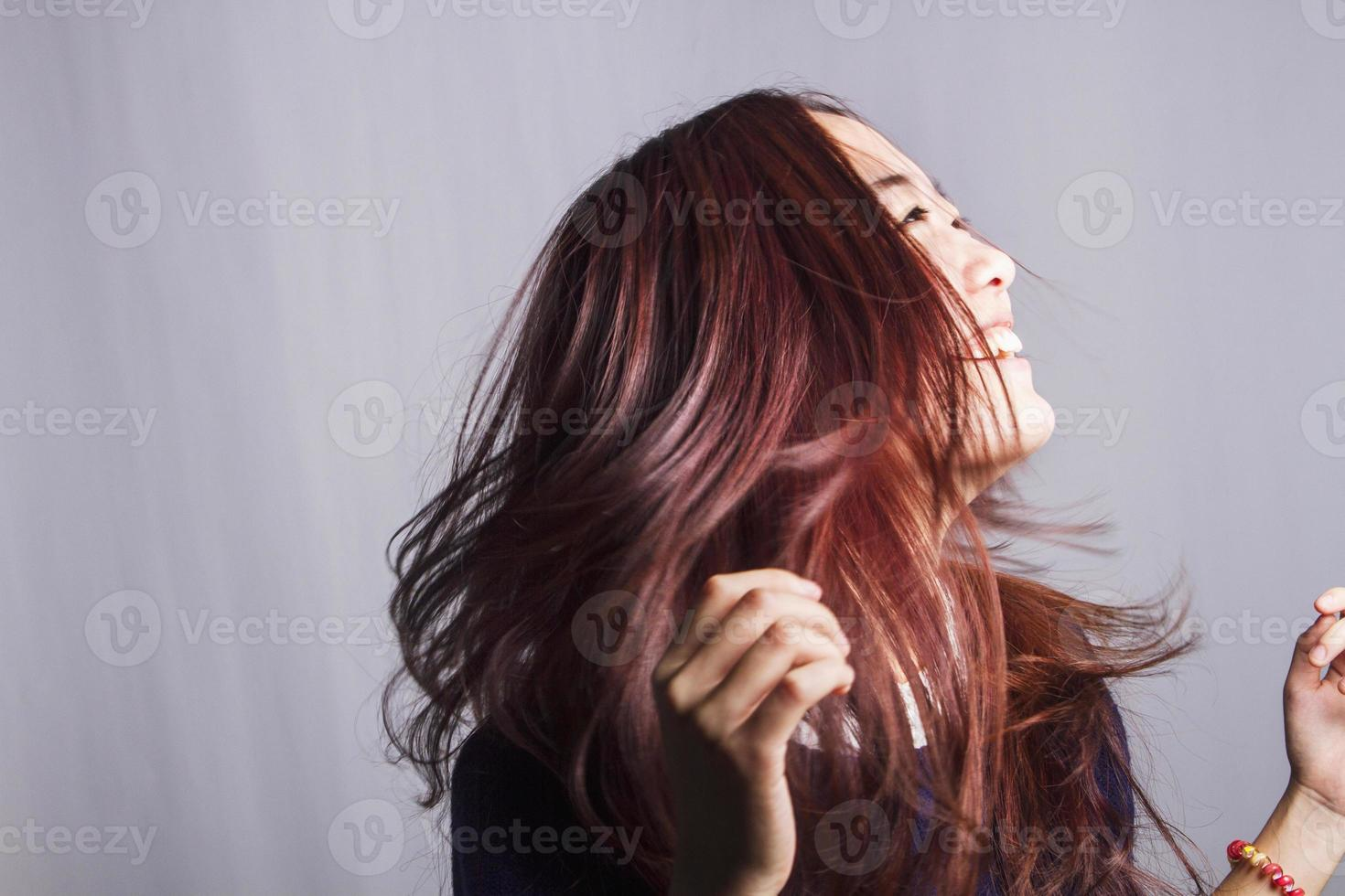 young female shaking head photo