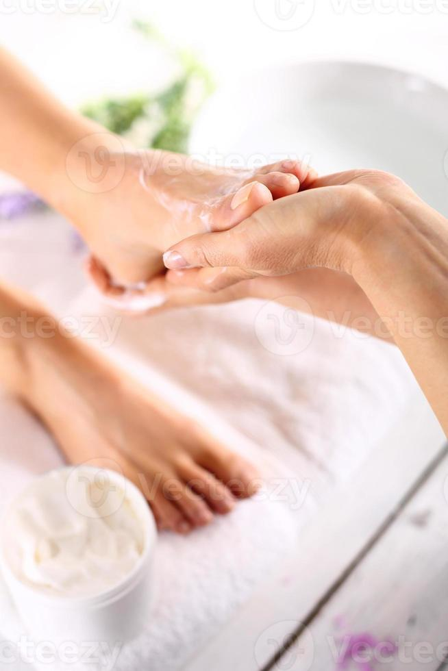Massage of the female foot photo