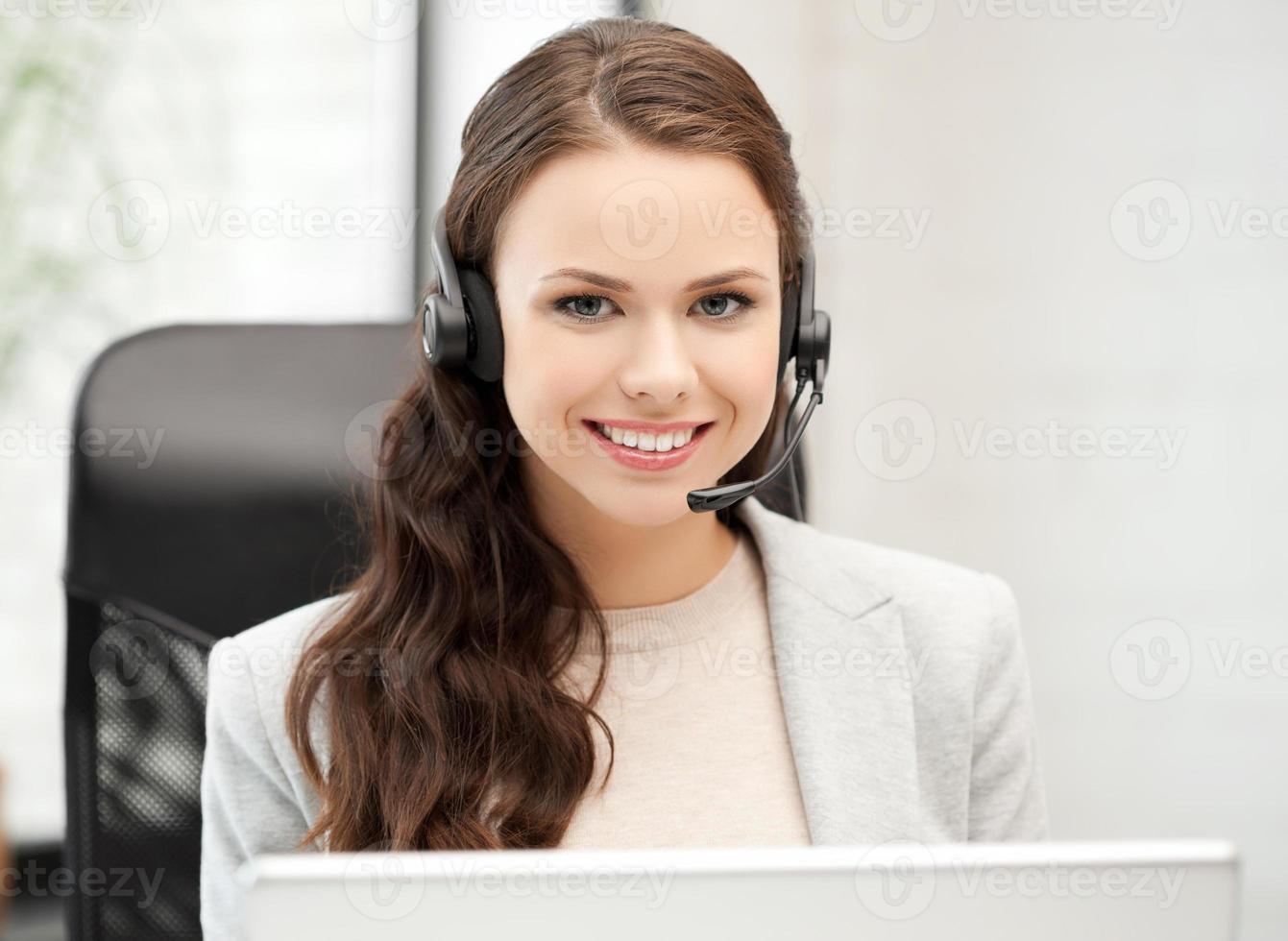 operador de linha feminina amigável foto