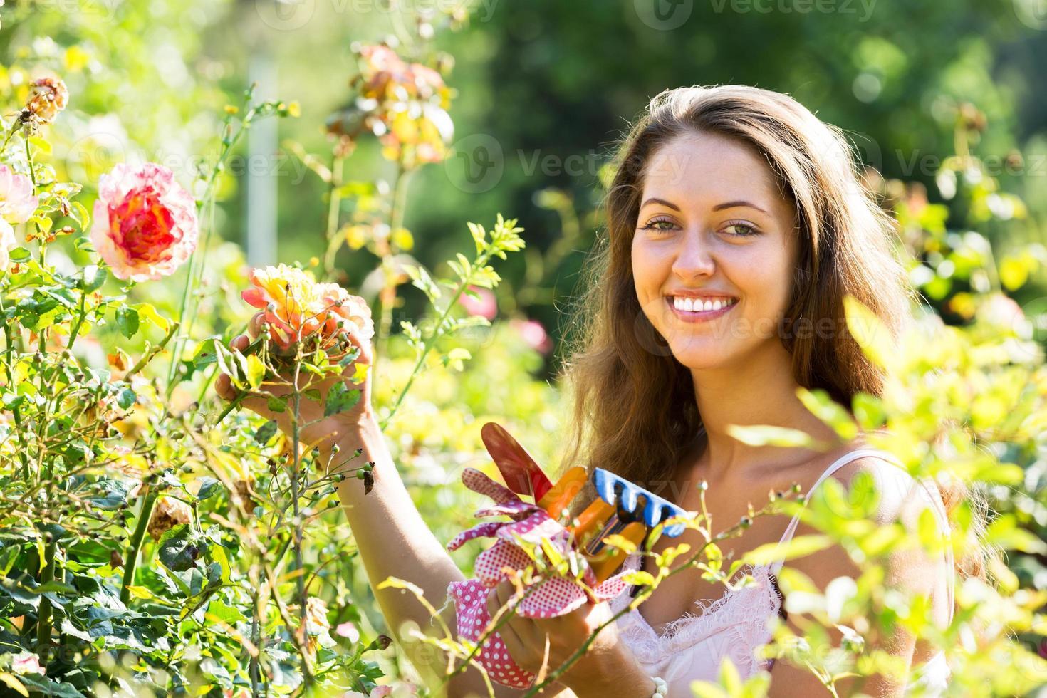 florista feminina no jardim de verão foto
