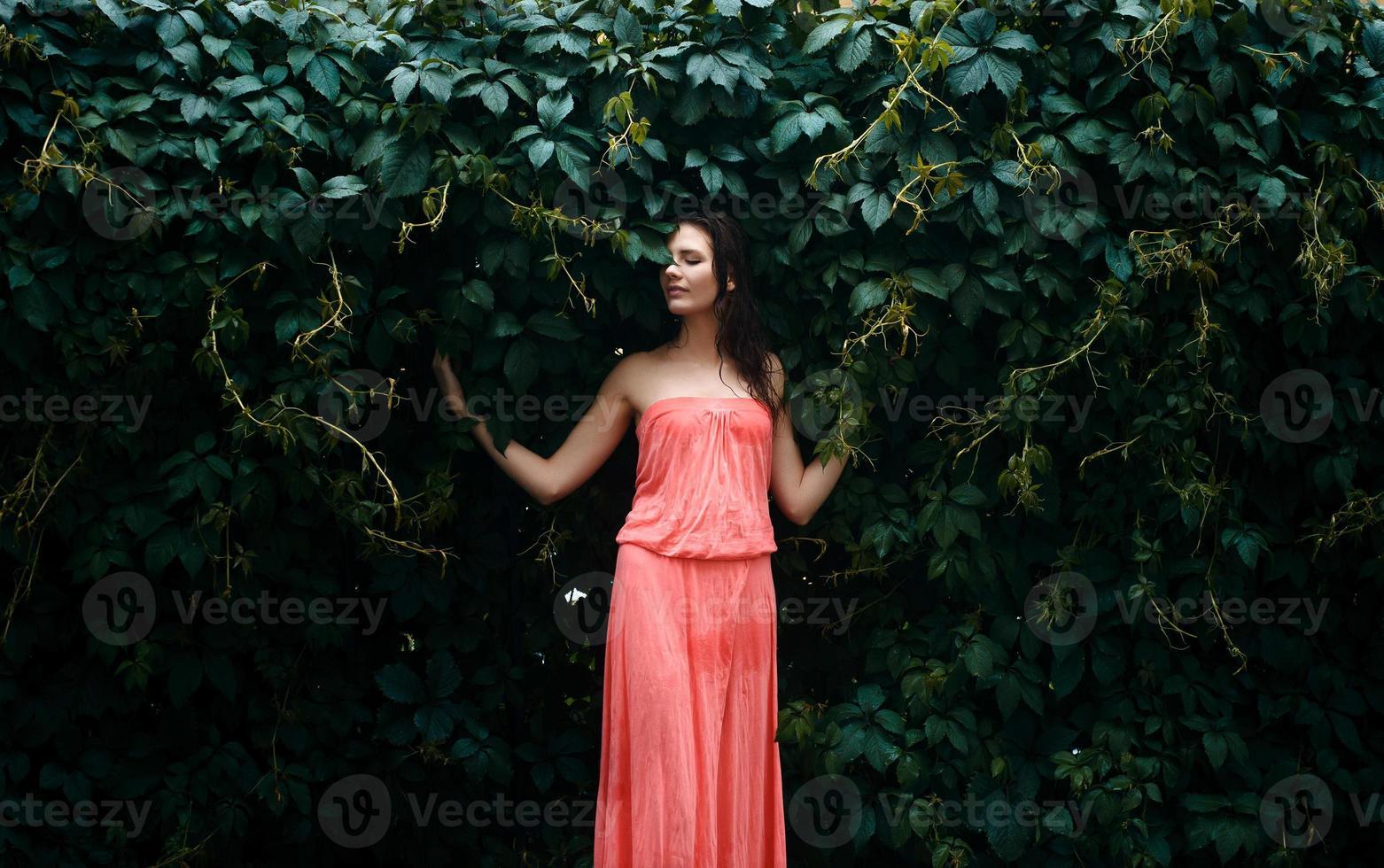 Natural female beauty in summer rain photo