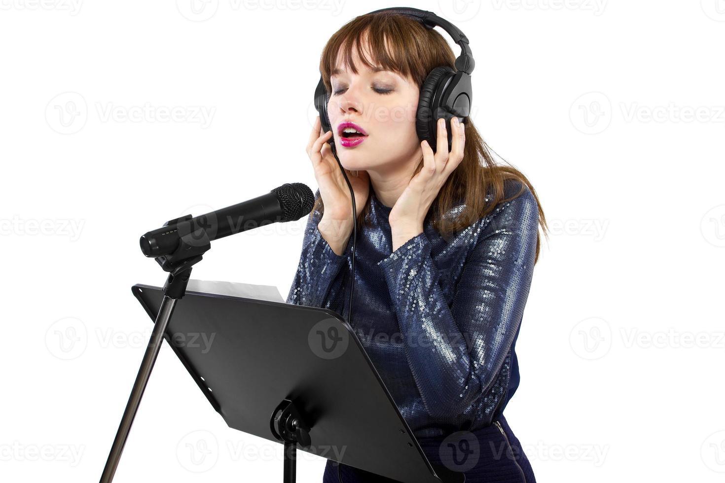 Female Singer on a White Background photo